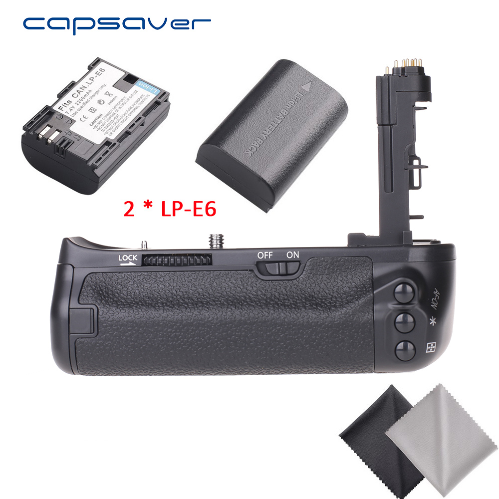 capsaver Vertical Battery Grip with 2pcs LP-E6 Batteries for Canon EOS 6D DSLR Camera Replace BG-E13 Multi-Power Battery Holder mcoplus bg 7dr ii vertical battery grip with 2pcs lp e6 batteries for canon eos 7d mark 7dii camera 2 4g wireless remote control