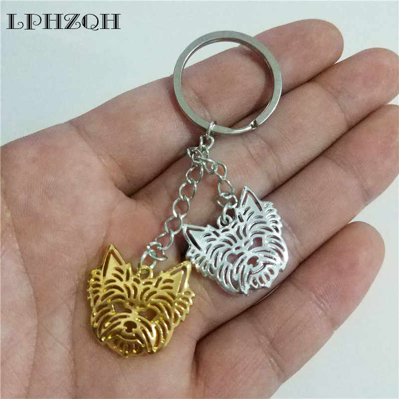 Dropship fashion Yorkshire Terrier dog key chain women bag pendant accessories charm trendy car Key ring gift jewelery steampunk