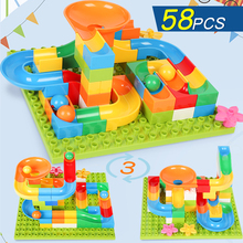 58 117 183PCS DIY Construction Marble Race Run Maze Balls Track Kids Children Gaming Building Blocks Toys Compatible With Duploe