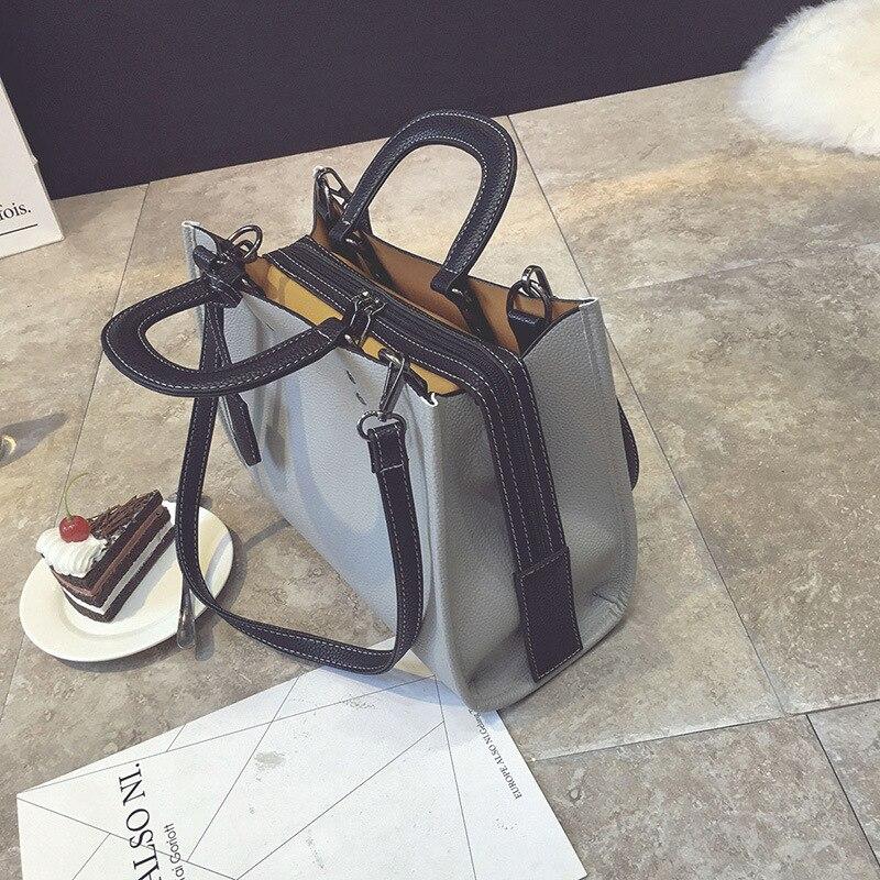 Image 3 - Женская сумка wenjie brother, новинка 2018, одноцветная сумка, Повседневная сумка, большая вместительность, модная сумка через плечо-in Сумки с ручками from Багаж и сумки