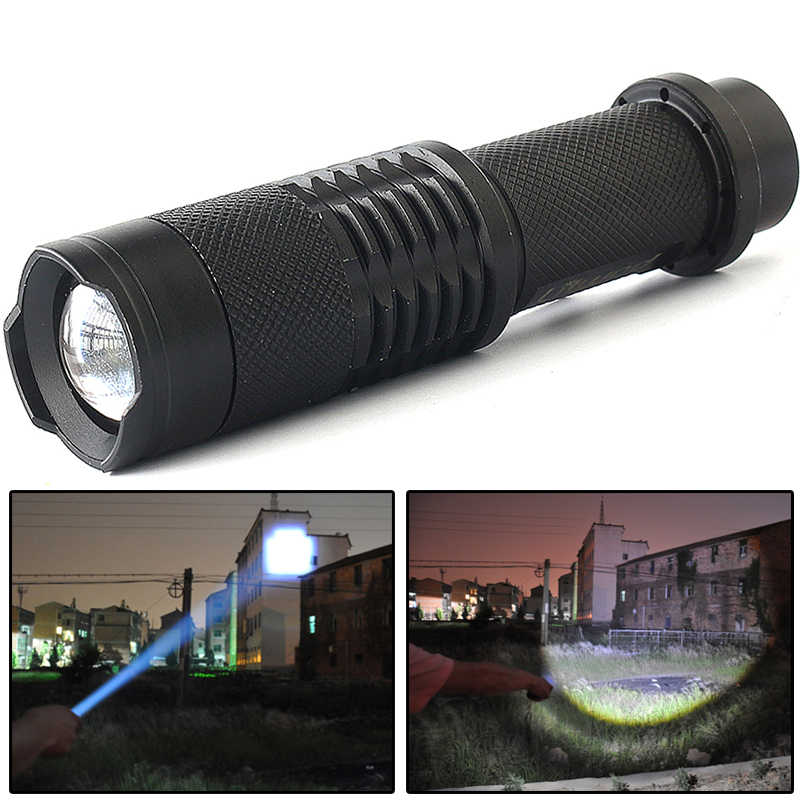 Z90S 2000 Lumen Mini led Flashlight Torch Lamp CREE Q5 LED Torch AA /14500 Adjustable Zoom Focus Penlight Waterproof For Outdoor
