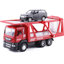 18.5Cm Die Cast TRAILER Med 1PCS Mindre biler (1/64) W / Light Sound, MINIAUTO 5010-1