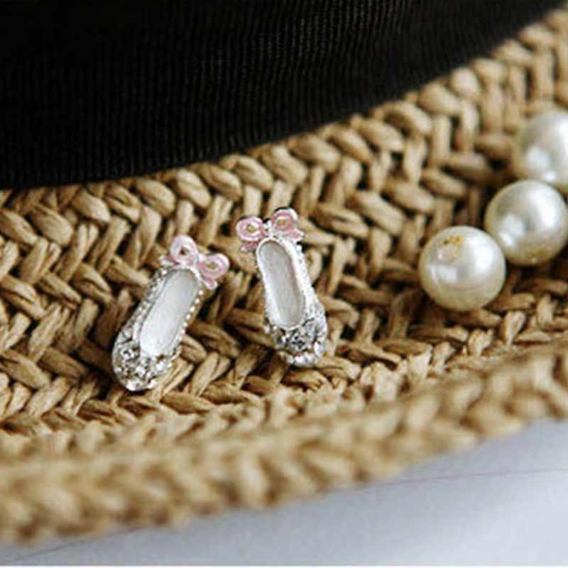 Một Đôi Bông Tai Nữ Ngọt Ngào Tinh Tế NƠ REN Ba Lê Giày Bông Tai Nữ Thời Trang Bé Gái Bông Tai Trang Sức