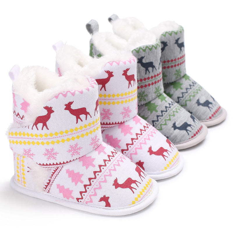 2017 Winter Newborn Baby Girl Boy Soft Sole Booties Christmas Boots Infant Toddler Baby Crib Shoes