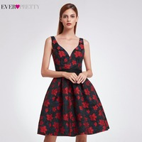 2017 New Fashion Sexy V Neck Fit Floral Print Homecoming Dresses Ever Pretty EP05946 Women S