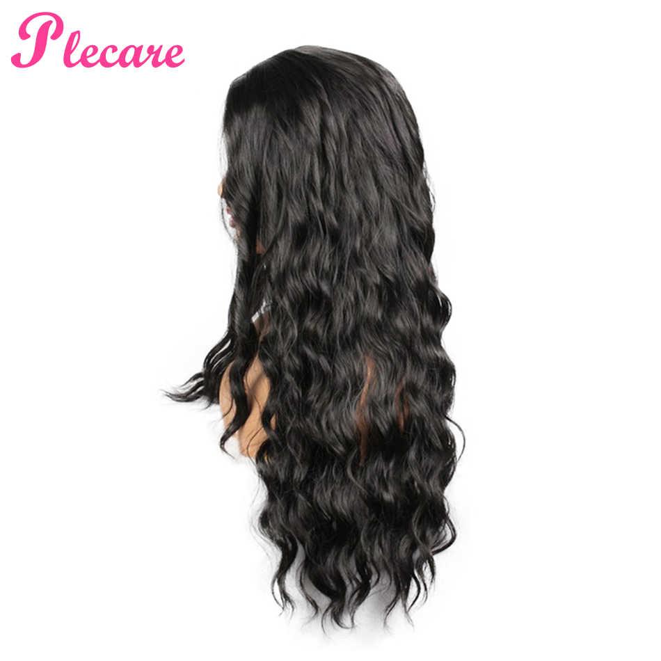 Plecare 合成レースの前部かつら自然な髪のかつら Pruik 黒 28 インチディープウェーブスーパーロング波状合成かつらのための黒人女性