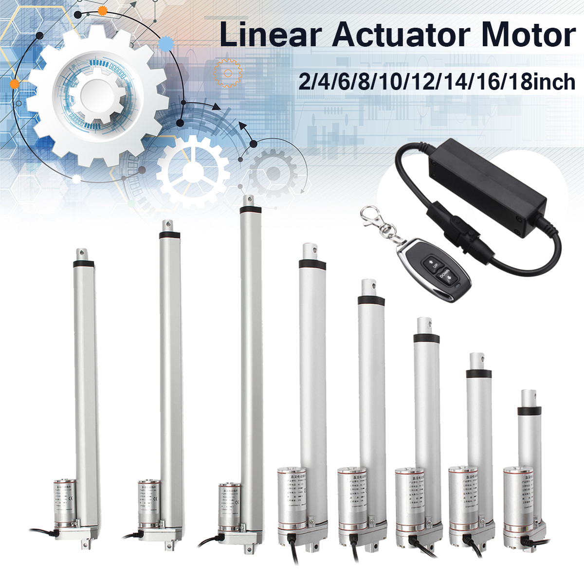 Wolike DC 12V Electric Motor Linear Actuator 150KG 1500N 4 18 Inch 330lbs For lectric Self Unicycle Scooter Input Voltage Range