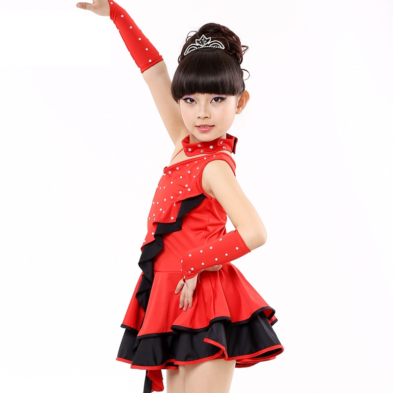 ballroom for tango skirts and dresses with diamonds lycra kids dancing latin dance skirt girls dress salsa for children clothes