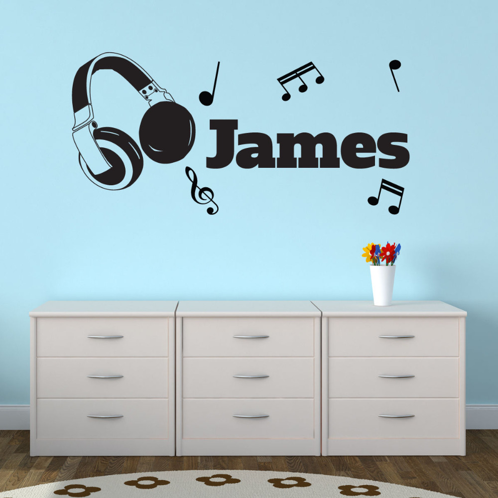 Sticker Da Muro Personalizzati.Personalised Name Mussic Wall Stickers Cuffie Personalizzato Adesivo Da Parete Note Musicali Adesivi Baby Wall Decals A261