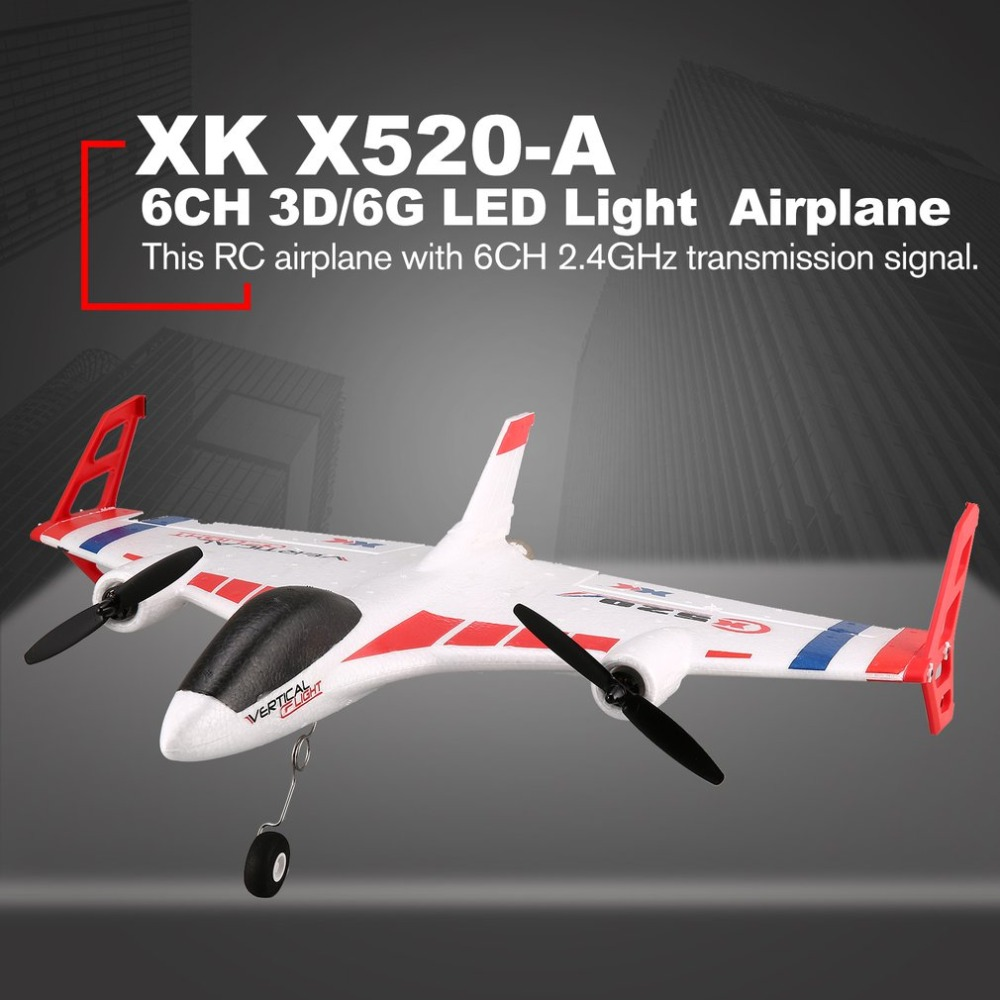 XK X520 RC 6CH 3D/6G Airplane VTOL Vertical Takeoff Land Delta Wing RC Drone Fixed Wing Plane Toy with Mode Switch LED Light цена и фото
