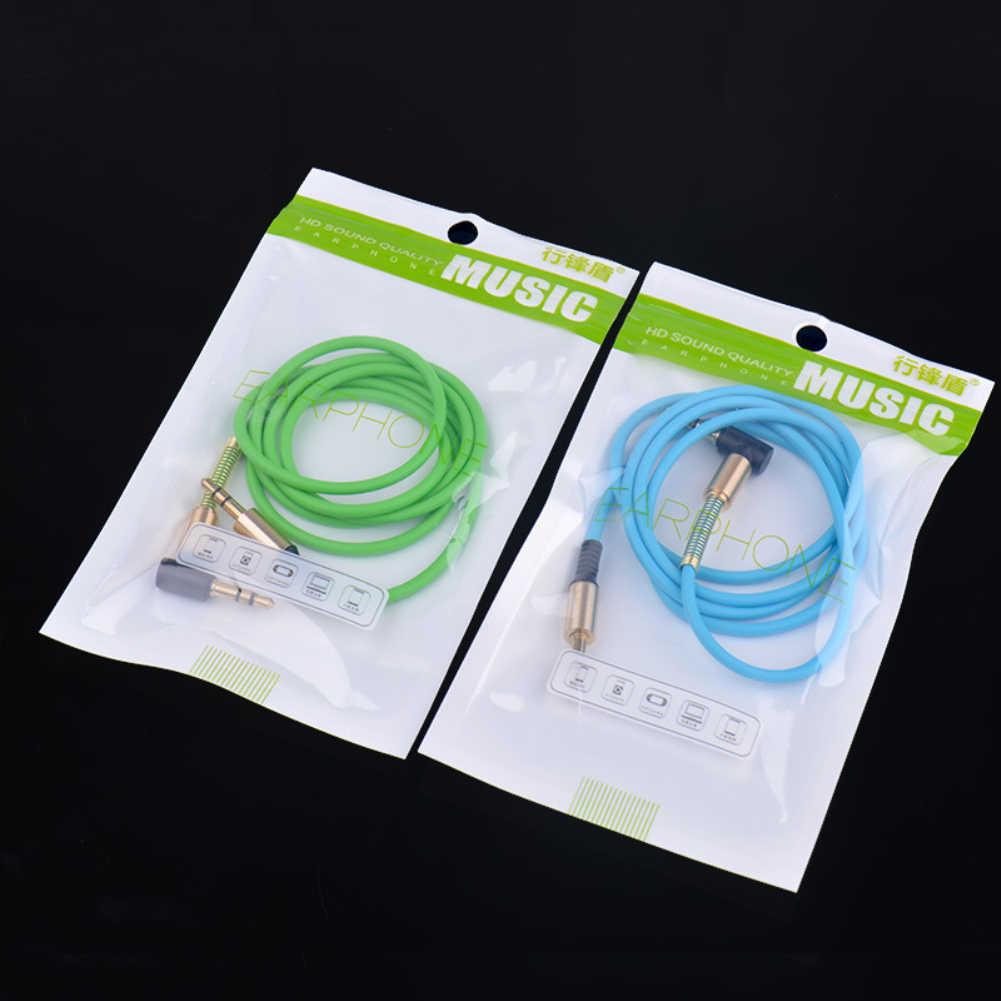 Uniwersalny 3.5mm Jack Stereo Aux Audio kabel męski na męski 90 stopni w prawo kąt przewód Aux przewód z wiosna ochronne