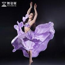 2016 Wuchieal Brand Women Silk High Grade Bellydance Costumes 2017 New Woman Belly Dance Performance Top Bra+skirt Suits 2631