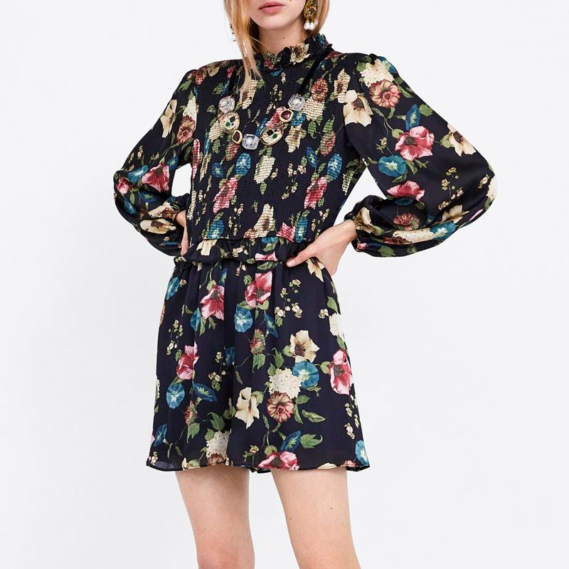 women's za SPRING 2019 prints loose FLORAL PRINT JUMPSUIT rompers HIGH-neck print playsuit  female overalls catsuit shorts