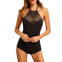 Sexy Backless Bodysuit Black Sleeveless Bandage Jumpsuit Women Macacao Feminino Barboteuse One Piece Bodycon Body Top