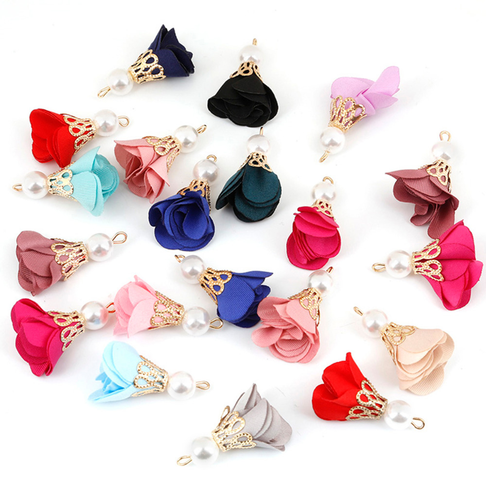 10 Pcs Mixed Color Gold Alloy Caps Pearl Beads Flower Tassels Charms For DIY Handmade Earrings Necklace Jewelry Findings Making