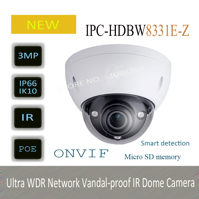 Free Shipping DAHUA 3MP HD Ultra WDR Network Vandal-proof IR Dome Camera Original English Version without Logo IPC-HDBW8331E-Z free shipping in stock new arrival english version ds 2cd2142fwd iws 4mp wdr fixed dome with wifi network camera