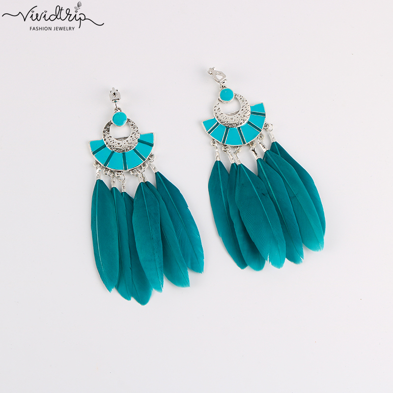 Fashion Bohemia Big Long Sector Enamel Feather Clip On Earrings For Women Without Piercing Hanging Ear Clips Female Bijoux 2018