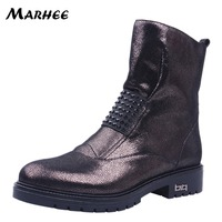 MARHEE 2018 Ankle Boots Women's Leather Genuine Shoes Black Blue Short Booties Sheepskin Rifle Color Ladies Winter Boot Footwear