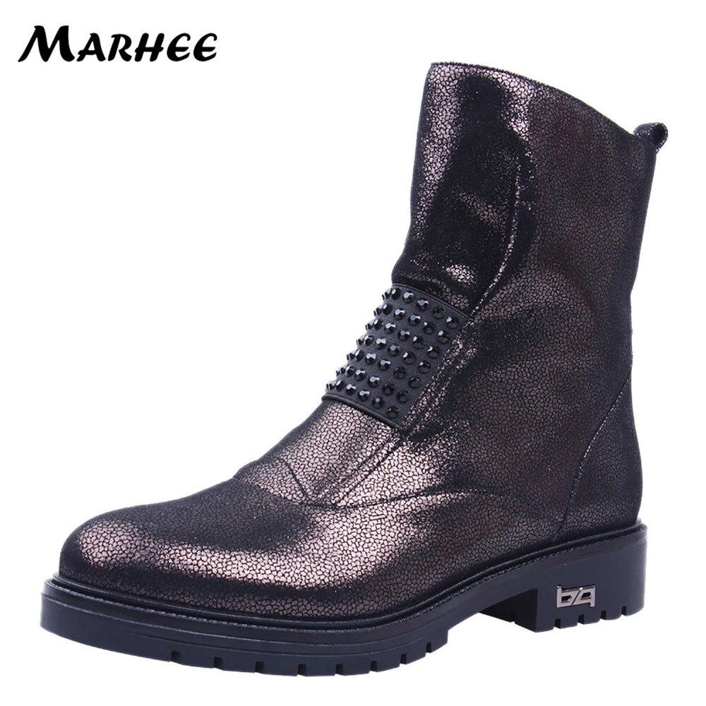 MARHEE 2018 Cheville Bottes de Femmes En Cuir Véritable Chaussures Noir Bleu Court Chaussons en peau de Mouton Fusil Couleur Dames Hiver Boot Chaussures