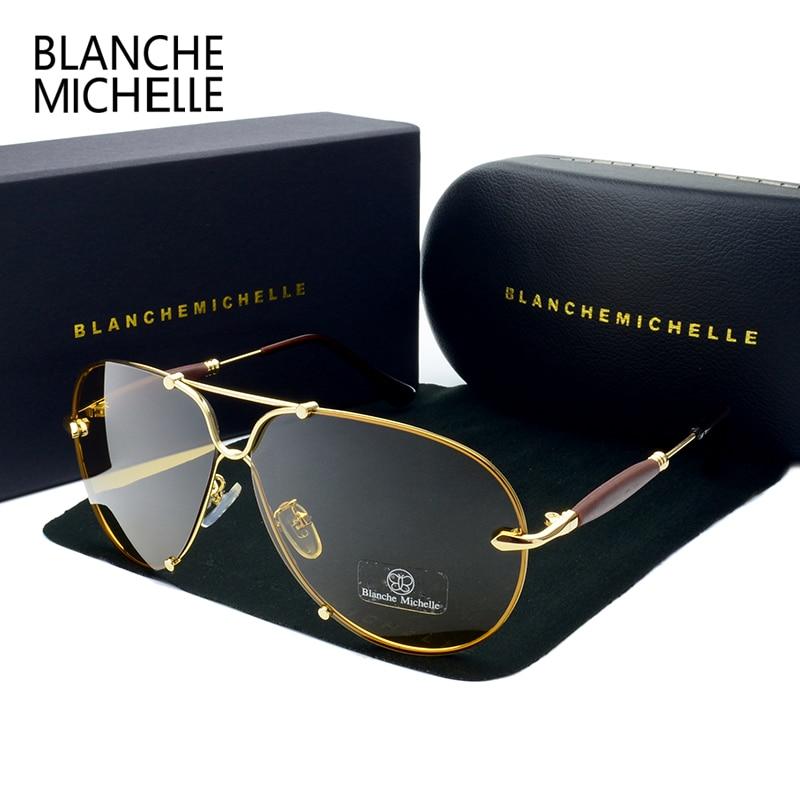 BM 2018 gafas de sol sin montura de alta calidad hombres polarizados UV400 gafas de sol gafas de sol de conducción gafas de diseñador de la marca con la caja