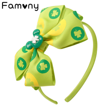 Hair Accessories Bands Headbands for Girls Layers Bow Hairband St. Patricks Day 5 Shamrock Printed Kids