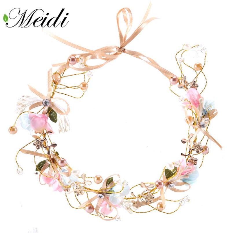 MEIDI Handmade Bridal Flowers Headband Elegant Hair Accessories Bow Flower Garland Hair Ornaments Wedding Party Hair Jewelry