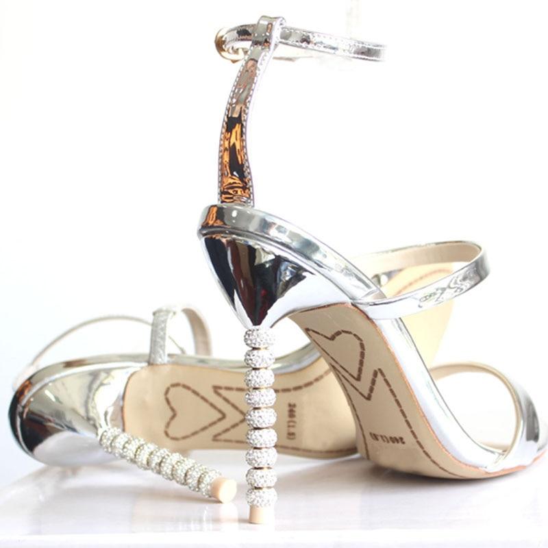 2019 nowy damskie buty na wysokim obcasie luksusowe złoty srebrny sandały Rhinestone buty kobieta lato sandały eleganckie buty ślubne wesele w Wysokie obcasy od Buty na  Grupa 3