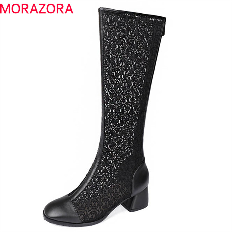 MORAZORA 2018 new arrival round toe summer shoes hollow out lace zipper boots women solid color party square high heels shoes gorgeos spliced hollow out rhinestone solid color ring for women