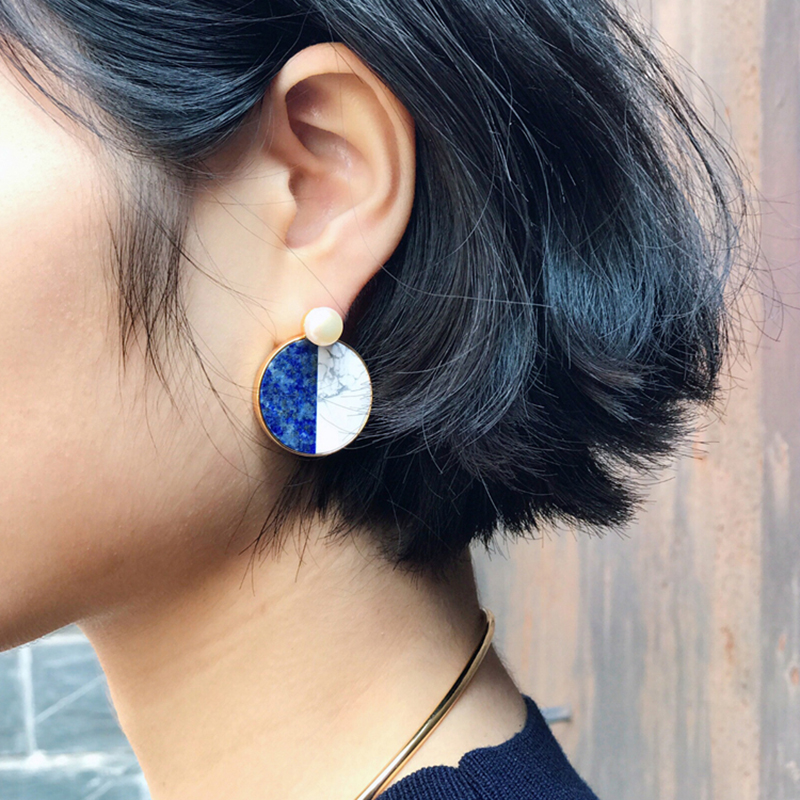 Vintage Simulated Pearl Round Synthetic Stone Blue Earrings Fashion Convertible Ear Jacket Geometric Earrings Women