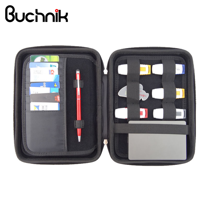 цена BUCHNIK Portable Unisex Cortex Digital Bag Multifunction Zipper Waterproof Handbag Electronics Accessories Storage Carrying Case