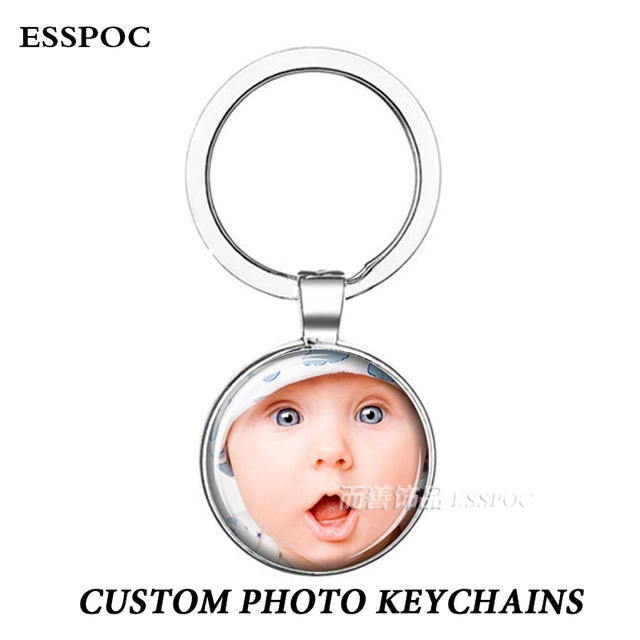 Double Face Handmade Personalized Custom Keychains Baby Family Photo Keyrings Key Chain Rings Holder Wedding Gift D00