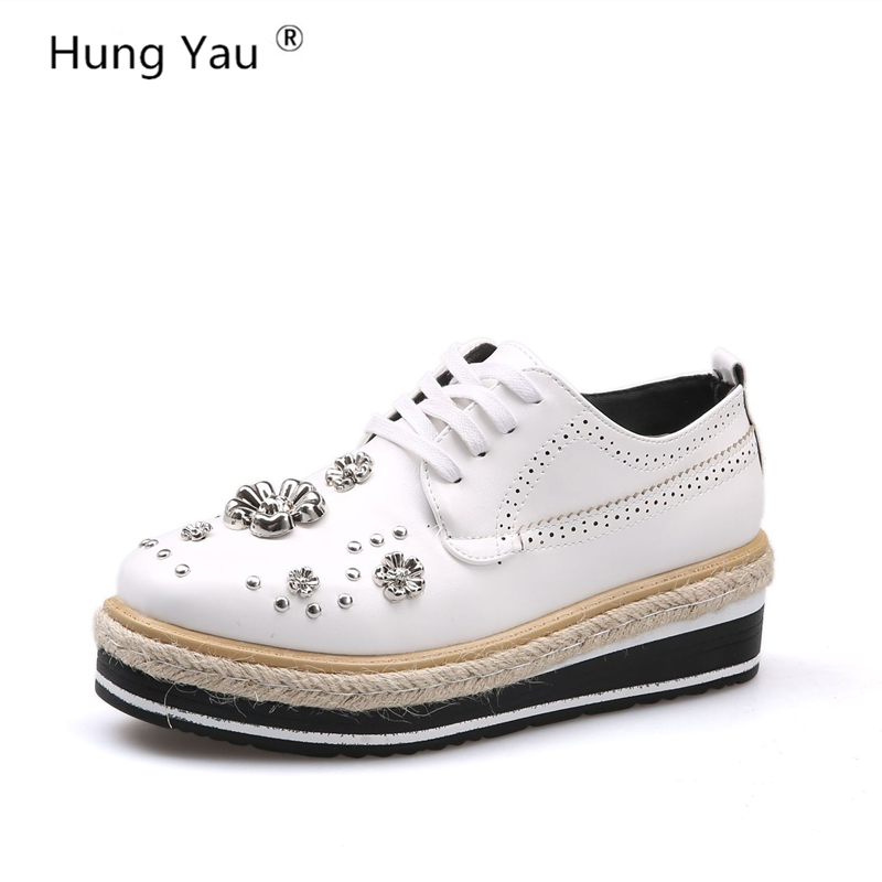 Hung Yau Women Flats Shoes Flats Woman Designer Vintage Flat Shoes Round Toe Creepers Oxford PU Leather Shoes For Women Size 8 цена