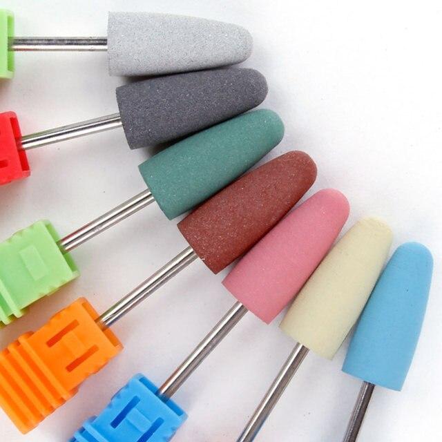Silicone clou foret polisseur caoutchouc dissolvant manucure électrique Machine fraise Griding tampon fichier ongles Art outils