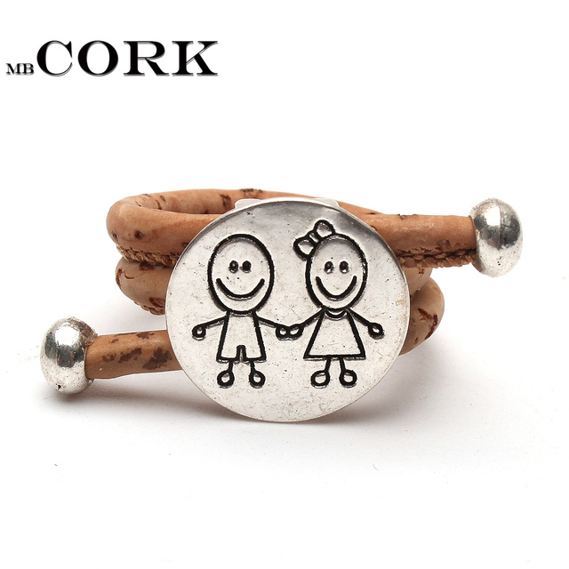 Cork ring Wood color cork, silver alloy, accessories, boys and girls, handmade r