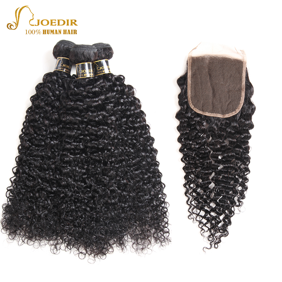 Joedir Human Hair Bundles With Closure 3 Bundles Indian Kinky Curly Hair Weaving With Lace Closure Non Remy Hair Extension