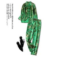 Fashion suit women's suit winter New Green Tang suit embroidery personality casual Chinese style two piece set autumn tide