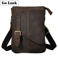 Crazy Horse Natural Cow Leather Casual Multi funciton Bag Men's Shoulder Messenger Bag Waist Belt Sling Pack Cell Phone Case