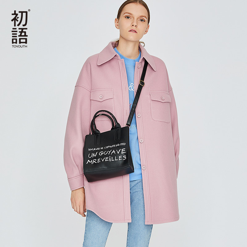 Toyouth Wool Cashmere Overcoat Women Wool Blend Coats Ladies Casual Coats Winter Warm Tweed Coat Mujer
