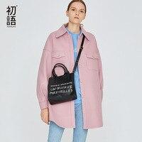 Toyouth Wool Cashmere Overcoat Women Wool Blend Coats Ladies Casual Coats Winter Warm Tweed Coat Mujer Pink Outwear 2018