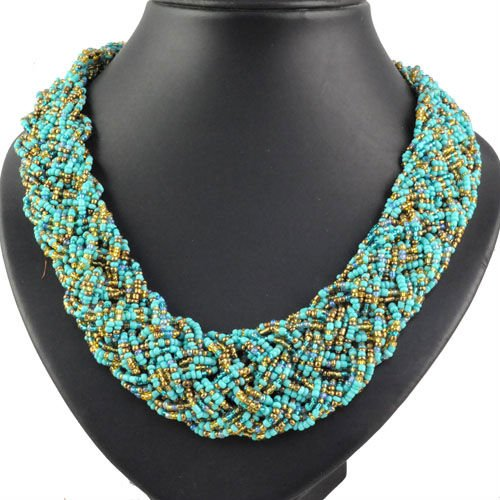 Bohemian Style Seed Beads Weaving Beaded Necklaces for Women Handmade Twist Beaded Strands Statement Choker Necklaces NL 1218-in Chain Necklaces from ...