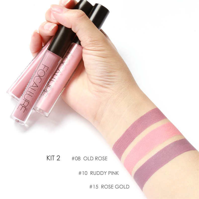 Focallure 3pcs Set Matte Liquid Lipstick Beauty Lips Cosmetics Waterproof Lip Gloss Kits Long Lasting Lipsticks