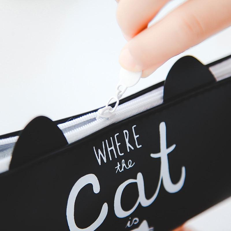 Купить с кэшбэком 1Pc Kawaii Cute Cat Pen Bag Pencil Bag Silicon School Stationary Receive Tool Makeup Pouch Cosmetics Pencil Case Office Supplies