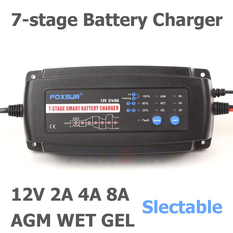 12V 2A//4A//8A//12A//auto Intelligent Smart Battery Charger for AGM//LeadAcid battery