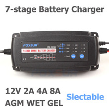 Автоматическое умное зарядное устройство FOXSUR 12 В 2A 4A 8a, 7 ступенчатое умное зарядное устройство, автомобильное зарядное устройство для гелевых и влажных аккумуляторов AGM