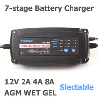 FOXSUR 12V 2A 4A 8A Automatic Smart Battery Charger, 7 stage smart Battery Charger, Car Battery Charger for GEL WET AGM Battery