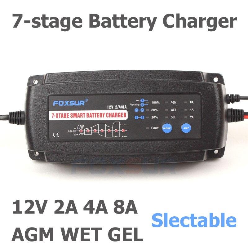 Foxsur 12 V 2A 4A 8A automático cargador de batería inteligente, 7 etapas cargador de batería inteligente, cargador de batería de coche para gel húmedo batería AGM