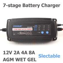 Foxsur 12 v 2a 4a 8a carregador de bateria inteligente automático, carregador de bateria inteligente de 7 fases, carregador de bateria de carro para a bateria molhada do agm do gel