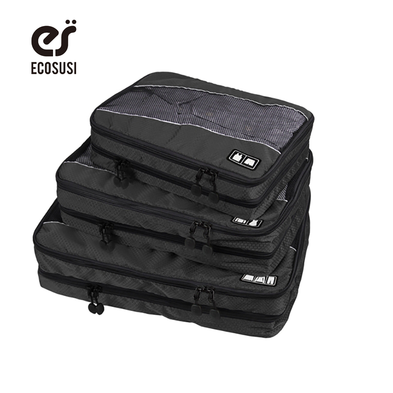 ecosusi 3pcs Packing Cubes Double Compartments Mens Travel Bags For Packing Clothes Underwear Storage Bag Luggage Suitcase