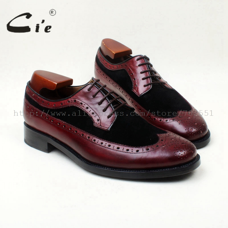 цена на cie Genuine Calf Leather Bespoke Handmade men's Round Toe Derby Leather Goodyear welted Flats Brogue Shoe Color Deep Brown D61