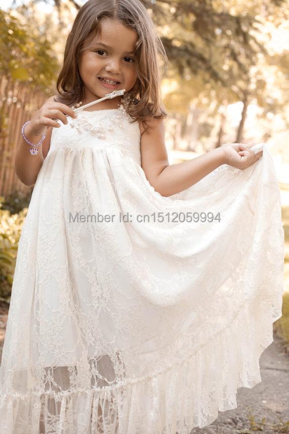 Girls maxi dress lace flower girl dress rustic wedding for White destination wedding dresses